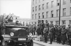 German Lieutenant General Heinz Guderian and Soviet Brigadier General Semyon Krivoshein watch German units pass by during the joint German-Soviet victory parade. Brest-Litovsk, Poland (now Brest, Belarus). 22nd of September 1939.