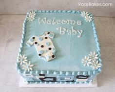 Mod Onesie Baby Shower Cake and Blue Candy Apples