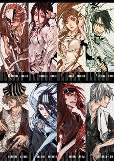BLEACH   Anime   fanart   kurosaki ichigo, rukia kuchiki, inoue orihime, ishida uryuu, urahara kisuke, byakuya kuchiki, renji abarai, gin ichimaru
