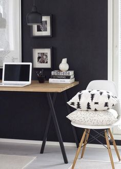 black & white workspace office home