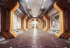 Epische Science-Fiction-Konzeptkunst-Inspiration Scifi concepts and art Spaceship Interior, Futuristic Interior, Futuristic Design, Science Fiction, Station Orbitale, Space Station 3d, Sci Fi Environment, Interior Concept, To Infinity And Beyond