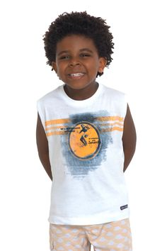 Camiseta de meia malha regata estampada. Referência: 1287