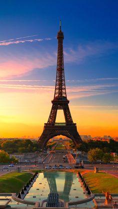 Sunset Effiel Tower iPhone 6 wallpaper