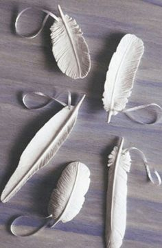 Clay feathers for hanging around the house