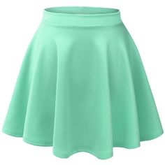 MBJ Womens Basic Versatile Stretchy Flared Skater Skirt (9.54 AUD) ❤ liked on Polyvore featuring skirts, mini skirts, bottoms, saias, faldas, stretch skirt, skater skirt, green skater skirt, flare skirt und green circle skirt