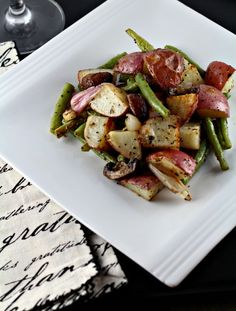 Roasted Green Beans, Mushrooms, and Potatoes   Perfect for Thanksgiving, Christmas or any night of the week