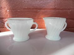 Anchor Hocking Milk Glass Fire King Golden Shell Swirl Open Sugar Bowl & Creamer #AnchorHockingGlassFireKing