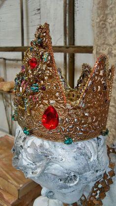 Elaborate handmade crown metal jewel covered by AnitaSperoDesign, $225.00
