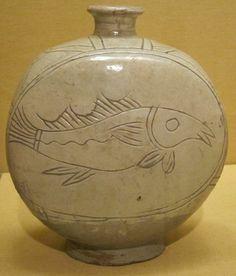 Botella para vino. Siglo XV, dinastía Joseon, con esmalte celadón y engobe blanco.
