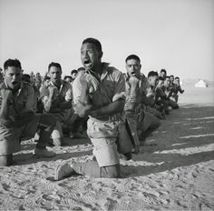 New Zealand 28th Battalion doing a Haka for the King of Greece in Egypt, c. 1941