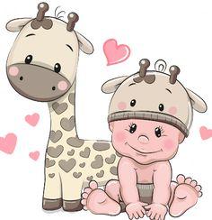 Cute Cartoon Baby and giraffe Royalty Free Stock Photos Cartoon Cartoon, Cute Cartoon Animals, Cartoon Drawings, Cute Drawings, Cute Animals, Cute Baby Cartoon, Clipart Baby, Baby Illustration, Photography Illustration