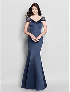 Mermaid+/+Trumpet+V-neck+Floor+Length+Satin+Bridesmaid+Dress+with+Pleats+by+LAN+TING+BRIDE®+–+GBP+£+175.86