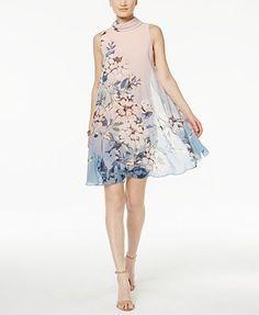 Vince Camuto Floral-Print Flyaway Shift Dress
