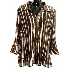 Brown Gold Striped Blouse Fashion Bug Womens Size 1X Long Sleeve Button Up f472