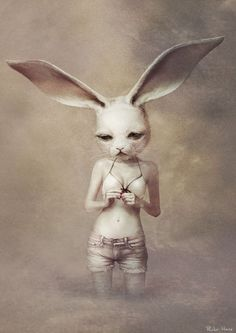 Japanese artist Ryohei Hase blurs the line between human and beast in his magnificently creepy artwork.
