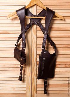 Купить Мужская сумка кобура с чехлом для телефона тёмно-коричневого цвета - коричневый, однотонный