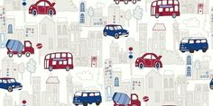 Motor Mania Blue (533501) - Arthouse Wallpapers - A fun kids wallcovering with designs of cars and buses in a town in a cartoon effect - showing in blue and red. other colour ways available. Please request a sample for true colour match.