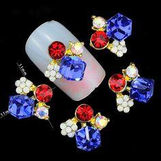 2 PCS. Red White & Blue 3D Nail Art Charm Decoration w/ CZ Stones