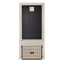 "Distressed Wood Framed Chalkboard with Metal Basket 18"" x 40"" (Ivory) Home Office Collection http://www.amazon.com/dp/B00JIW98H2/ref=cm_sw_r_pi_dp_1gJJtb00WAMSN8QV"