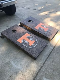 University of Tennessee cornhole boards. With Tennessee tristar logo. Jacobean s. University of Te