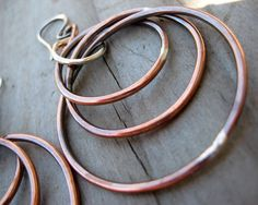 Autumn Handmade Pure Copper n Sterling Silver Hoop Earrings By Cindy's Art & Soul Jewelry