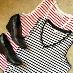 Zara Striped Tank Tops Bundle!  Two, in-perfect-condition striped Zara tank tops!  One is red and white, the other is black and white, and both are essential outfit staples! Build outfits with pants, cardigans, blazers, and cute shoes  Save on shopping by buying this bundle! ✨ 100 % Cotton! ✨ ❗️ But feel free to make an offer! ❗️ Zara Tops Tank Tops