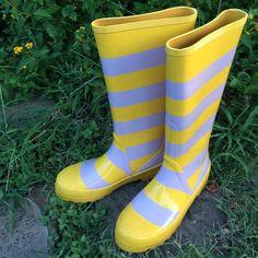 J Crew Striped Rain Boots