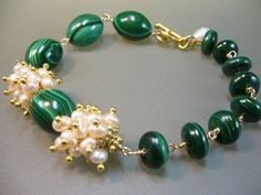 Malachite Freshwater Pearl Wire Wrapped Gold Bracelet