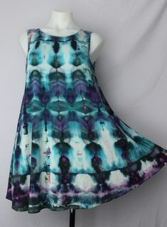 Ladies Small sleeveless tunic ice dye - Angelica stained glass by A Spoonful of Colors Find this item on https://aspoonfulofcolors.com
