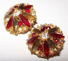 Rhinestone Earrings Colored Rhinestones Red by BrightgemsTreasures, $12.50