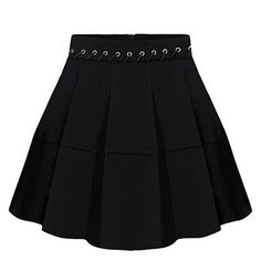 Sweeter Than You Think Pleated Mini Skirt-BLACK-S (£26) ❤ liked on Polyvore featuring skirts, mini skirts, black, mini skirt, pleated mini skirt, lace up skirt, zipper skirt and pleated miniskirt