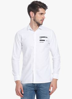 d3879ece47 Buy Jack   Jones White Printed Slim Fit Casual Shirt for Men Online India
