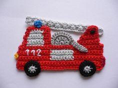 Feuerwehrauto+-+Häkelapplikation+von+Spielkiste+auf+DaWanda.com