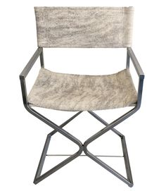 A steel chrome plate square-tubular directors chair designed by Robert Jakobsen for Virtue Brothers of California. Stylish and modern with new upholstery in light brindle cowhide. Great addition in any room.