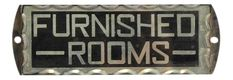 """1930s Reverse Glass Painted """"Furnished Rooms"""" Sign on Chairish.com Cottage Office, Room Signs, Painted Signs, 1930s, Rooms, Glass, Bedrooms, Drinkware, Corning Glass"""