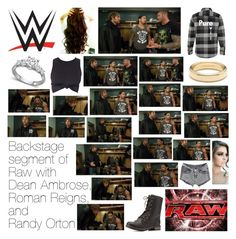 """""""Backstage segment of Raw with Dean Ambrose, Roman Reigns, and Randy Orton"""" by wwediva72 ❤ liked on Polyvore featuring Monday, Tiffany & Co. and Charlotte Russe"""