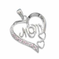Heart with MOM and Pink CZ Pendant, with 18-inch Cable Chain Sterling Silver AzureBella Jewelry. $48.04. Pink Cubic Zirconia. Rhodium over .925 Sterling Silver. Chain Included
