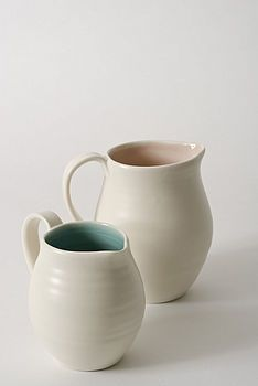 Porcelain jug - small (9 cm high) holds 250ml. - especially fine lined in pink, to echo its shell-like satiny delicacy