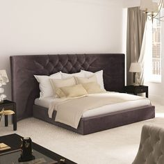 Bed (mattress not included)Material:Metal and wood frame; padding in polyurethane foam with matching protective fabric upholstery; tufted headboard; 55% viscose, 26% cotton, 19% polyester upholstery; slatted baseDimensions: 311 x 215 x H 140 cm. Mattress Size: 160 x 200 cm (Mattress not included)