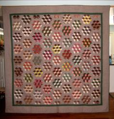 ANTIQUE QUAKER QUILT  FROM THE SHARPLESS FAMILY OF CHESTER COUNTY, PA, 1840s.  TUMBLING BLOCKS PATTERN by yvette