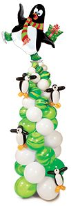 These penguins are ready for a party!  And you will be too with this balloon column!