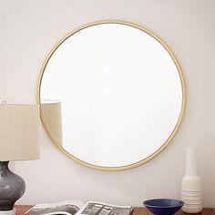 Metal Framed Round Wall Mirror - Antique Brass #westelm [over frpl or master bdrm highboy]