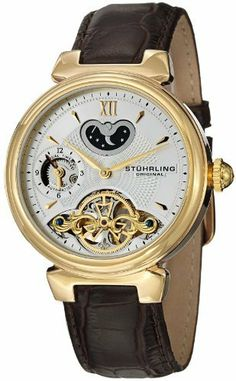 Stuhrling Original Men's 128.333K2 Symphony Eclipse Magister Automatic Goldtone Watch Stuhrling Original. Save 69 Off!. $199.00. 23k yellow gold layered round shaped case and beveled bezel with protective kysterna crystal on front and back. Silvertone outer dial with applied goldtone indices and printed outer seconds track. Water-resistant to 50 M (165 feet). Silver dimple design center dial with dual time zone and am/pm indicator subdials. Brown alligator embossed geniune leathe...