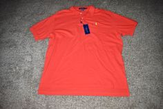 NWT Polo Ralph Lauren Orange Mesh Polo Shirt Green Pony Golf Size XX Large XXL #RalphLauren #PoloRugby