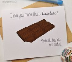 Let your valentine know that you love him or her more than chocolate (probably). | BEpaperie www.BEpaperie.Etsy.com  #valentine #bemine #valentinesdaycard