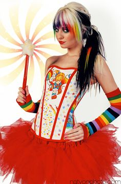 Rainbow Brite Corset.  This is awesome....Id never do the hair....but OMG so much color