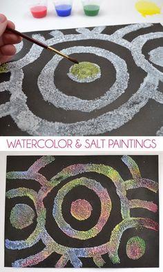 nice Watercolor & Salt Paintings