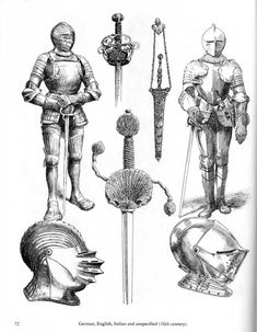 Ancient and Medieval Arms and Armor How To Draw Weapons, Historical Tattoos, Armadura Medieval, Star Wars Episode Iv, Landsknecht, Knight Armor, Arm Armor, Medieval Armor, Fantasy Weapons