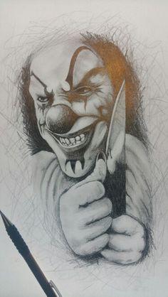 Clown horror drawing