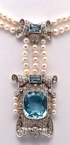Antique Victorian pearl, aquamarine, and diamond pendant necklace.